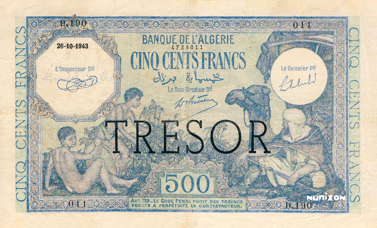 """500 francs Algérie surchargé """"Trésor"""" 1943 Pick##111"""