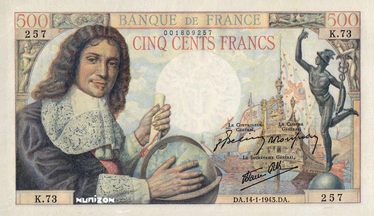 500 francs - Colbert Pick##101A