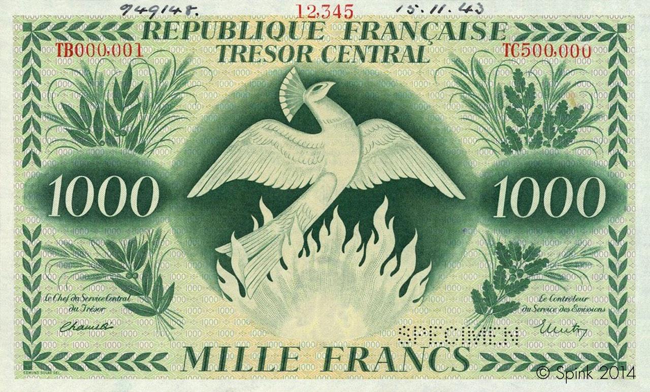 1000 francs Phoenix 1943 Pick##108
