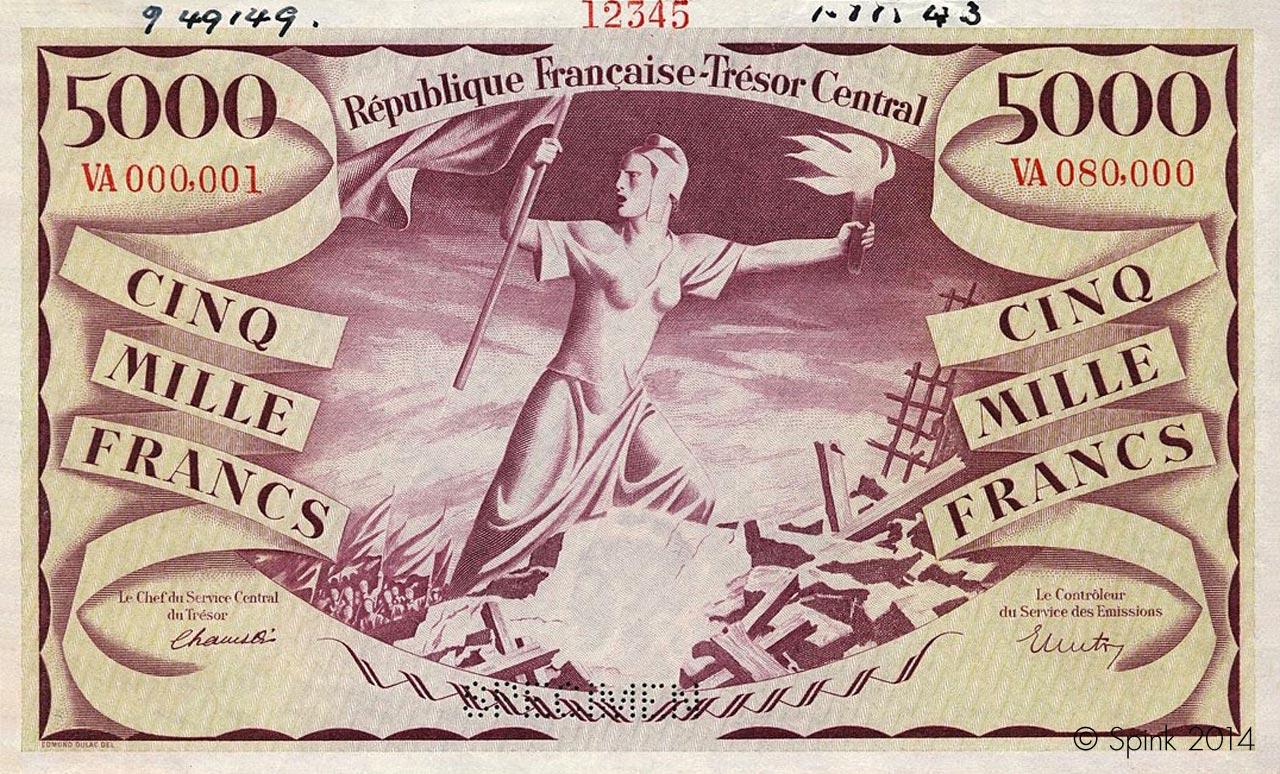 5000 francs Liberté 1943 Pick##110
