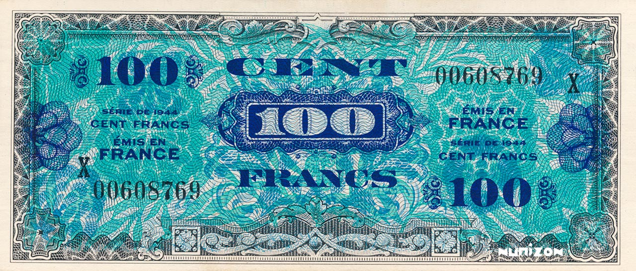 RECTO 100 francs Flag back Type 1944