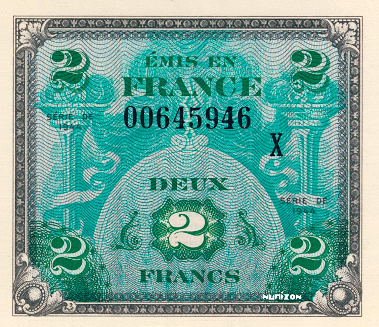2 francs Drapeau 1944 Pick##114