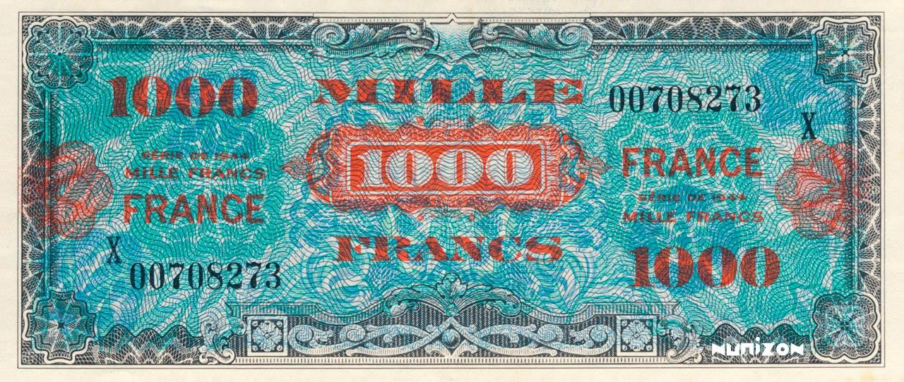 1000 francs verso France 1945 Pick##125