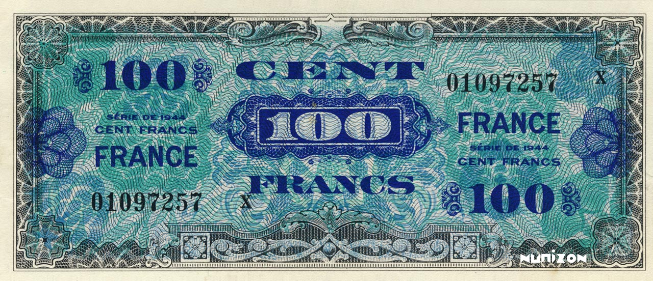 100 francs verso France 1945 Pick##123