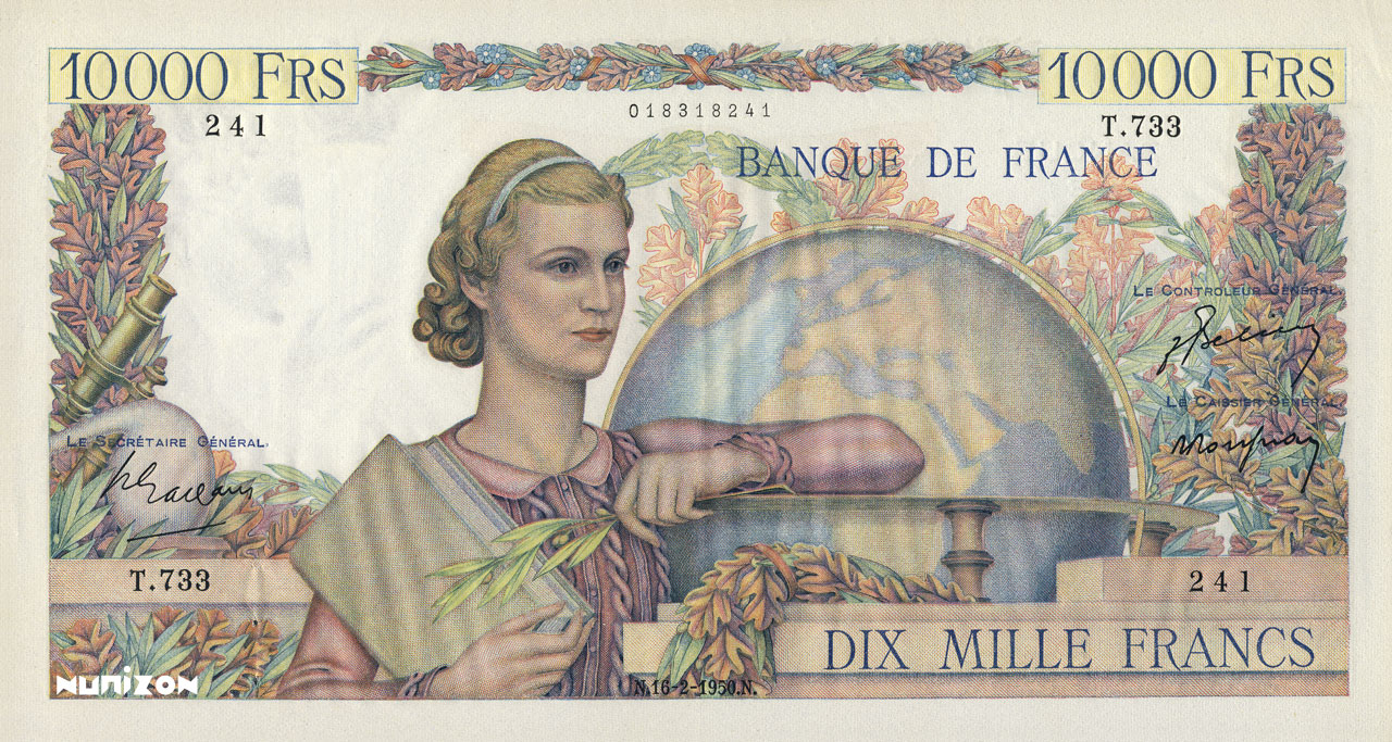 10000 francs - Génie Français Pick##132