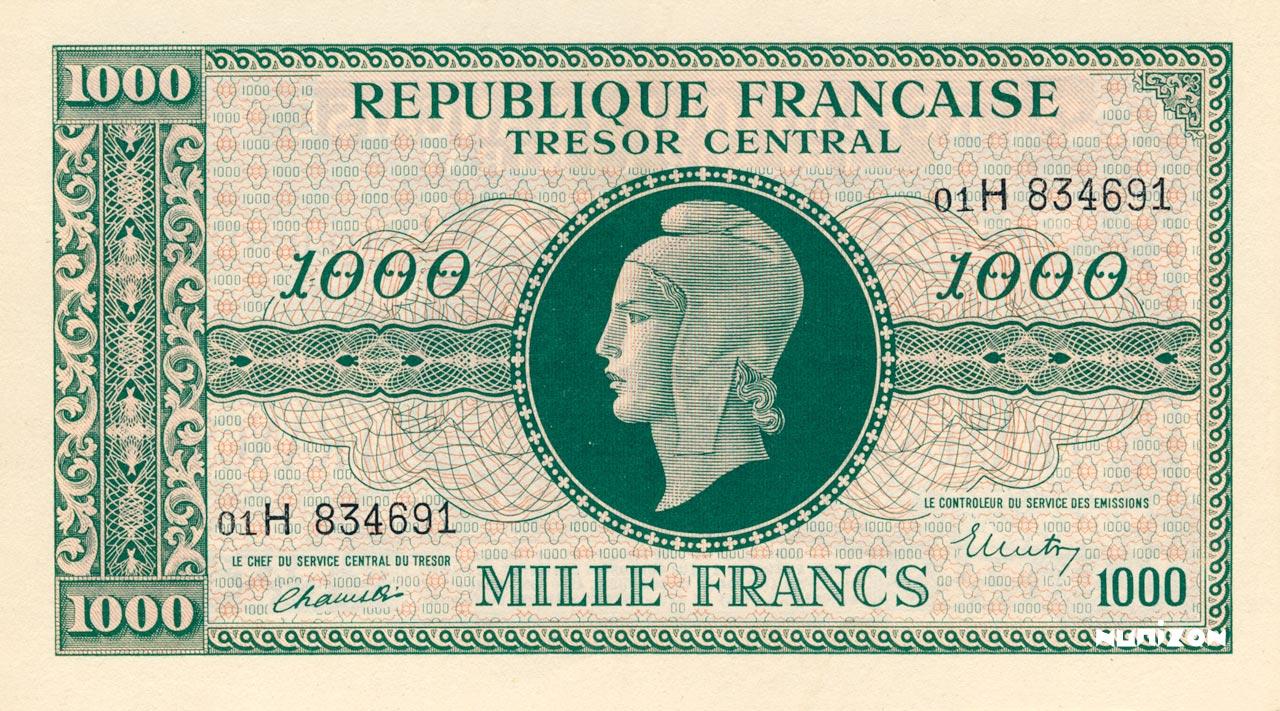 1000 francs Marianne 1945 Pick##107