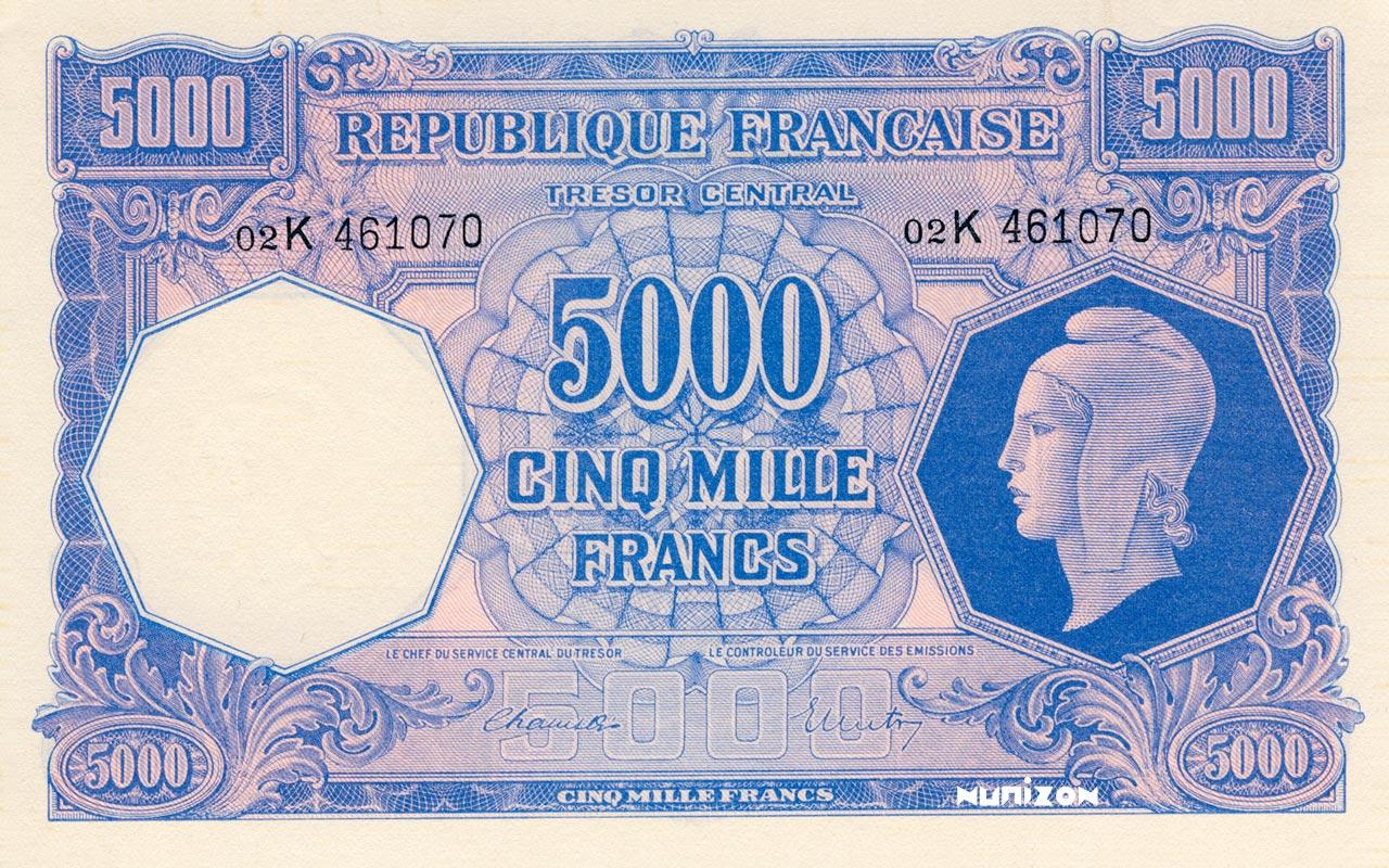 5000 francs Marianne 1945 Pick##109