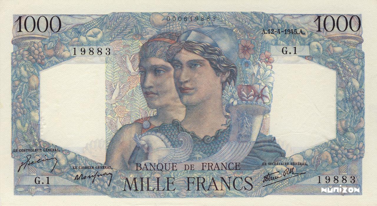 1000 francs - Minerve & Hercule Pick##130