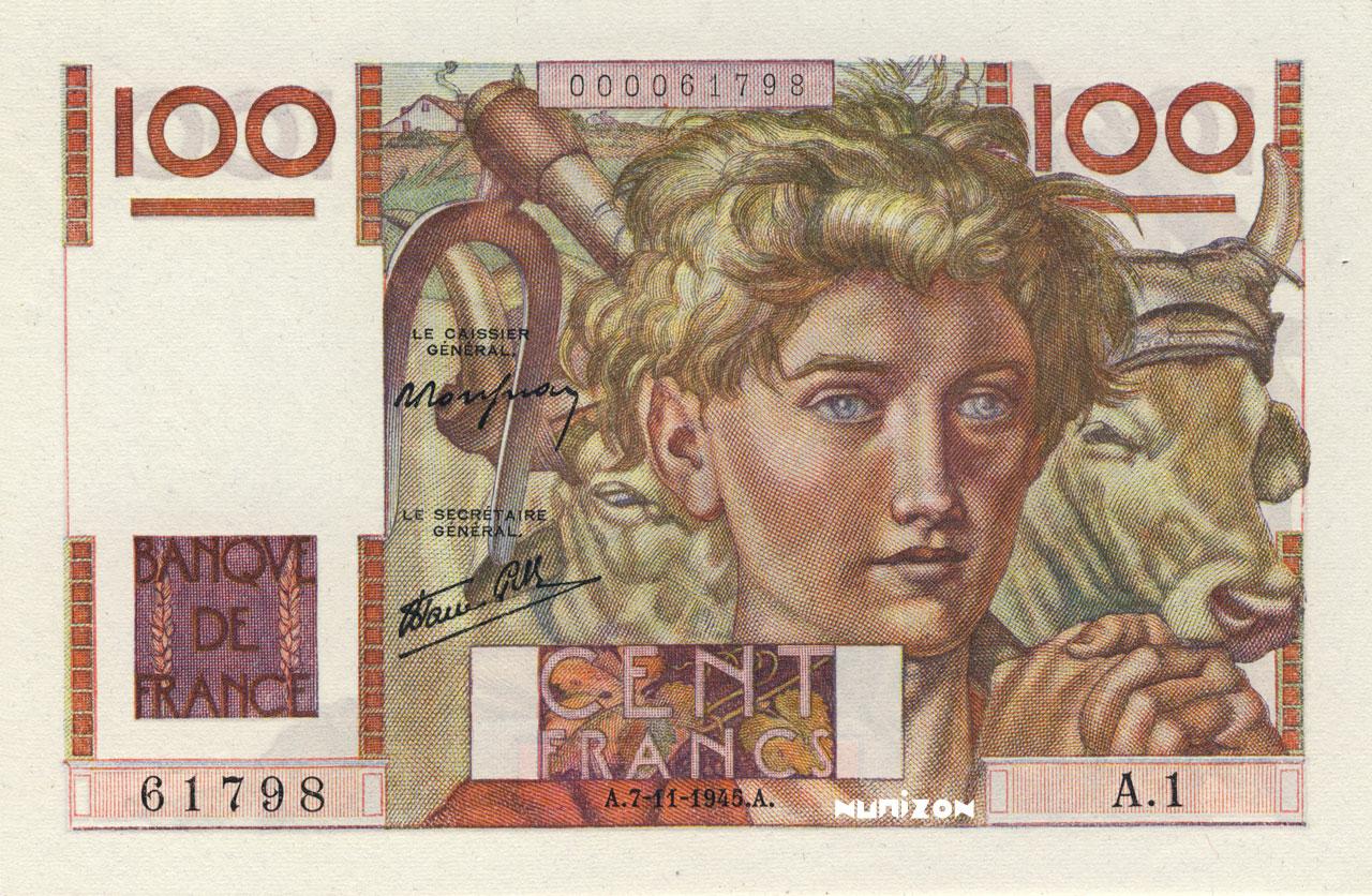 100 francs - Jeune Paysan Pick##128