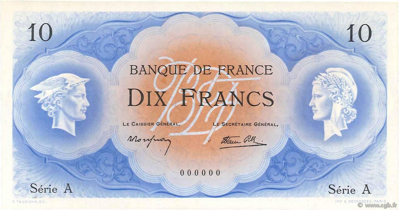 """10 francs Type 1946 Cérès et Mercure """"non émis"""" Pick##126A"""