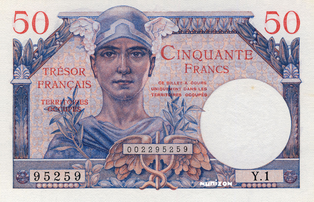 50 francs Trésor Francais 1947 Pick##M8