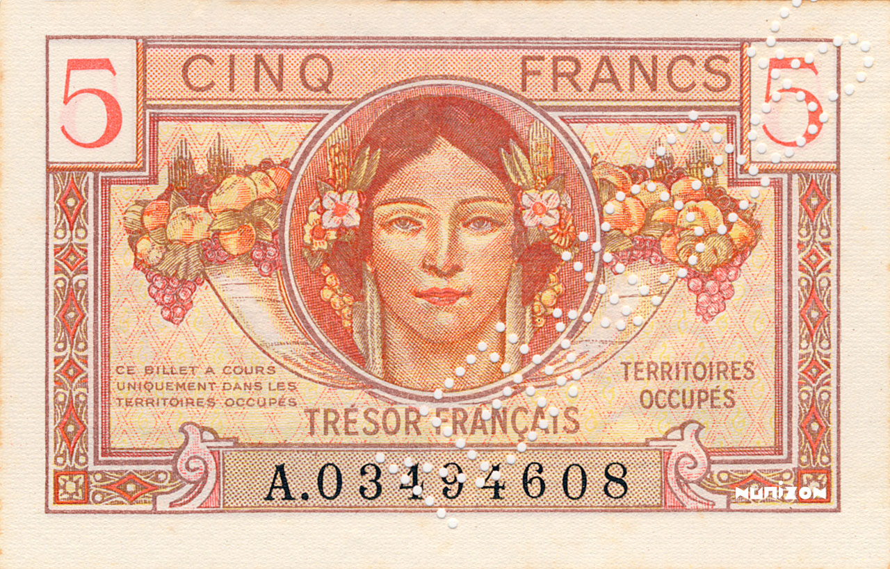 5 francs Trésor Francais 1947 Pick##M6