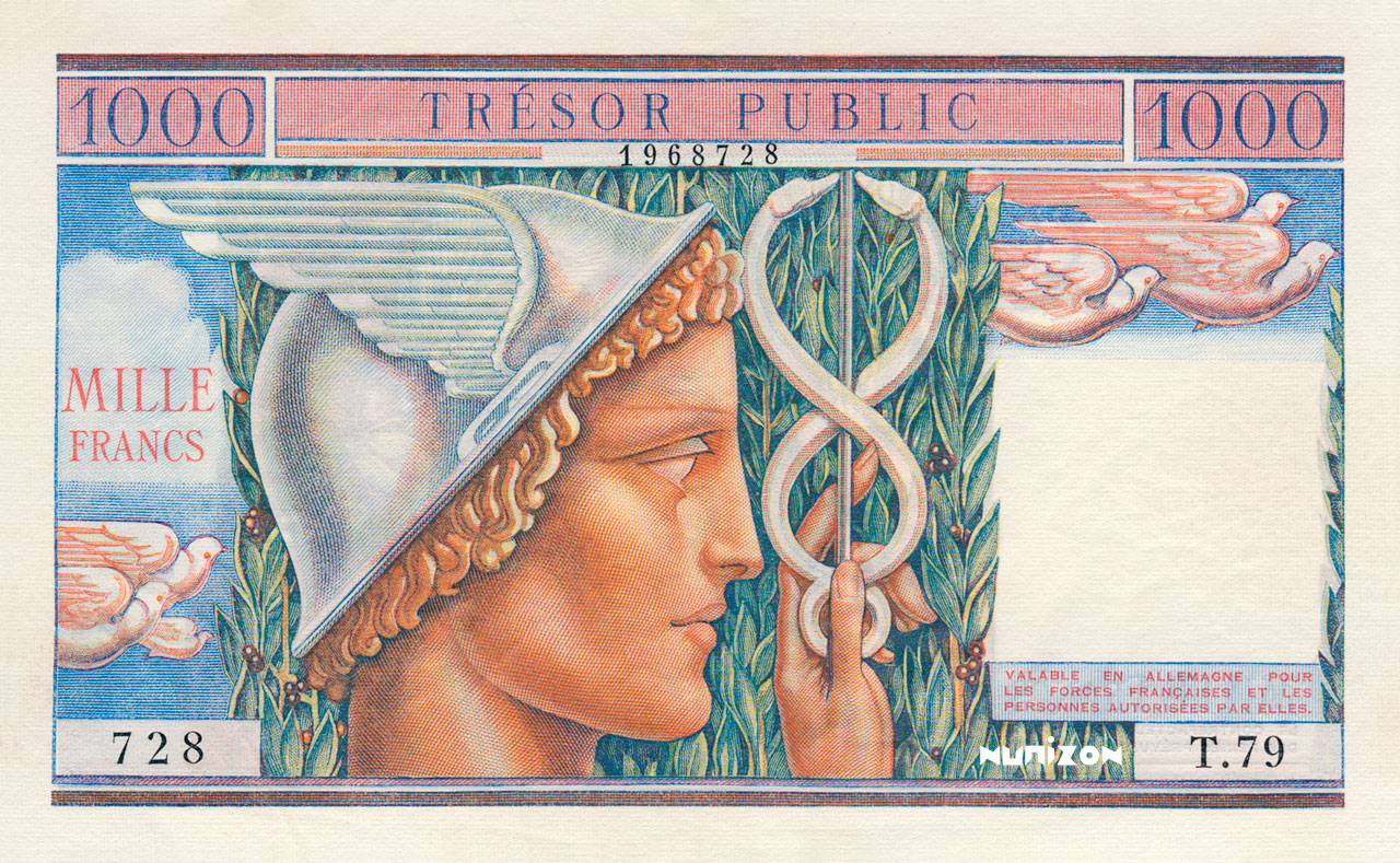 1000 francs Trésor Public 1955 Pick##M12