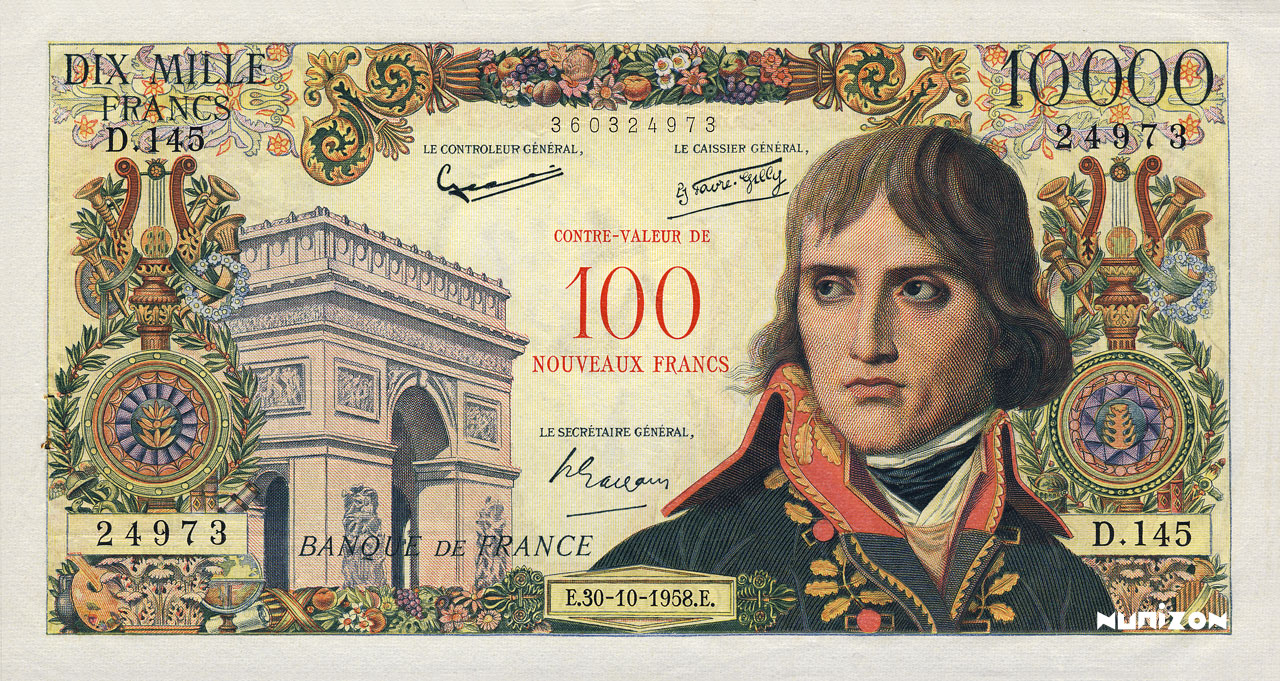 100 NF/10000 francs Bonaparte 1955 Pick##140