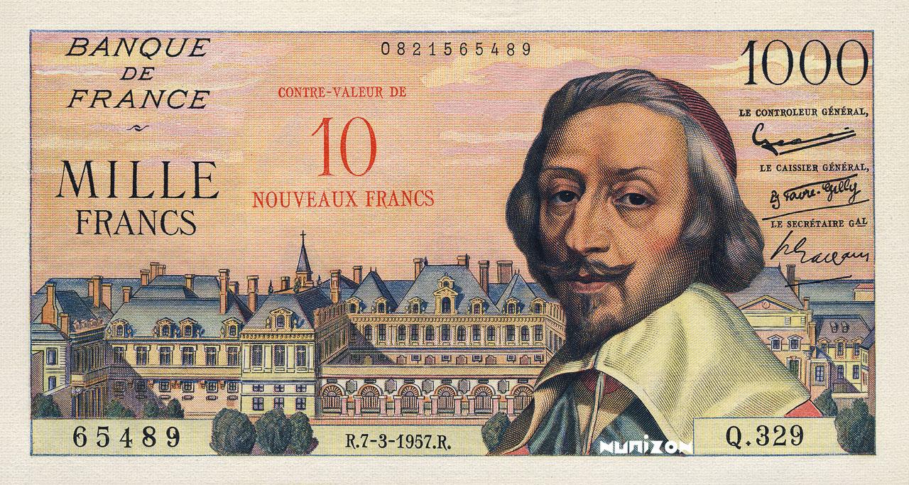10 NF/1000 francs Richelieu 1953 Pick##138