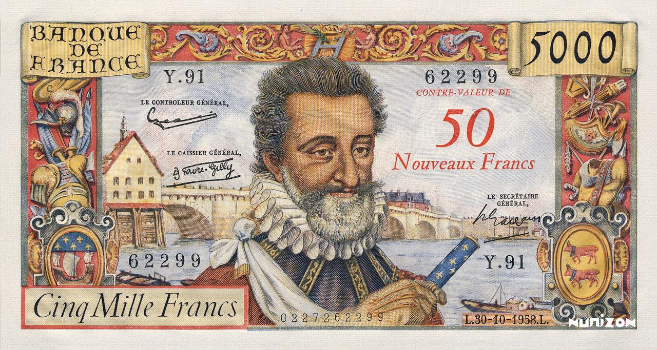 50 NF/5000 francs Henri IV 1957 Pick##139