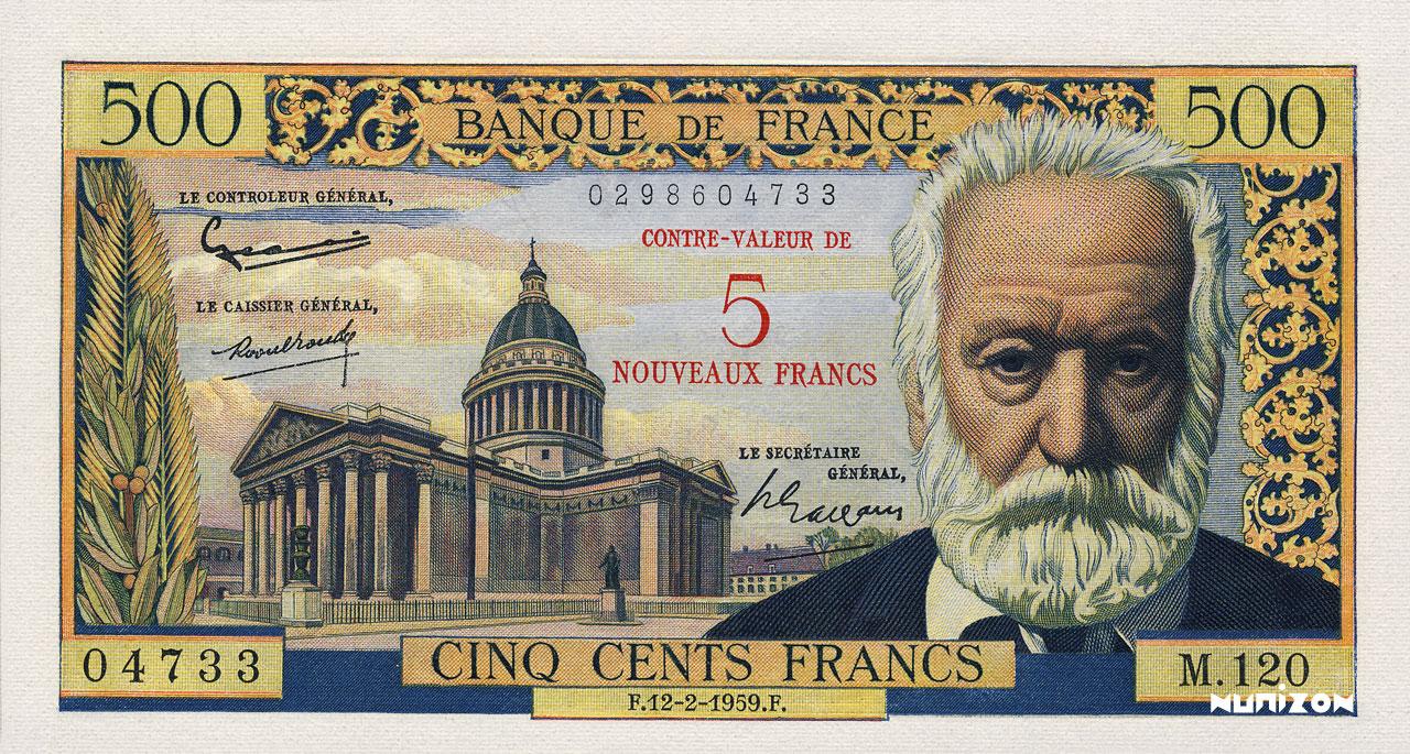 5 NF/500 francs Victor Hugo 1953 Pick##137
