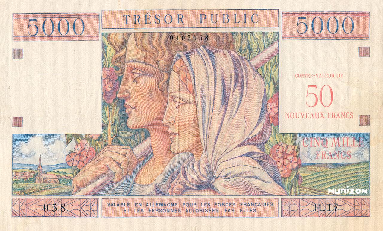 50 NF/5000 francs Trésor Public 1960 Pick##M15