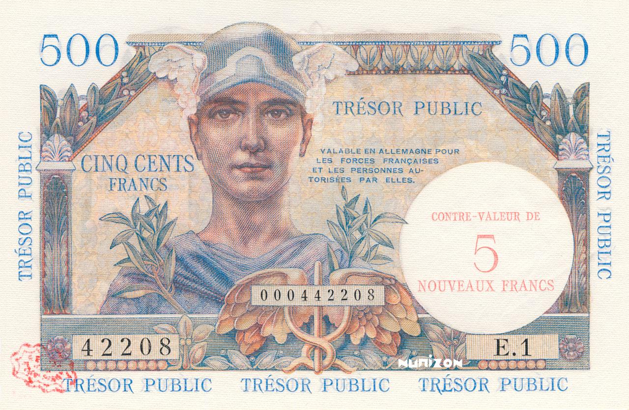 5 NF/500 francs Trésor Public 1960 Pick##M14