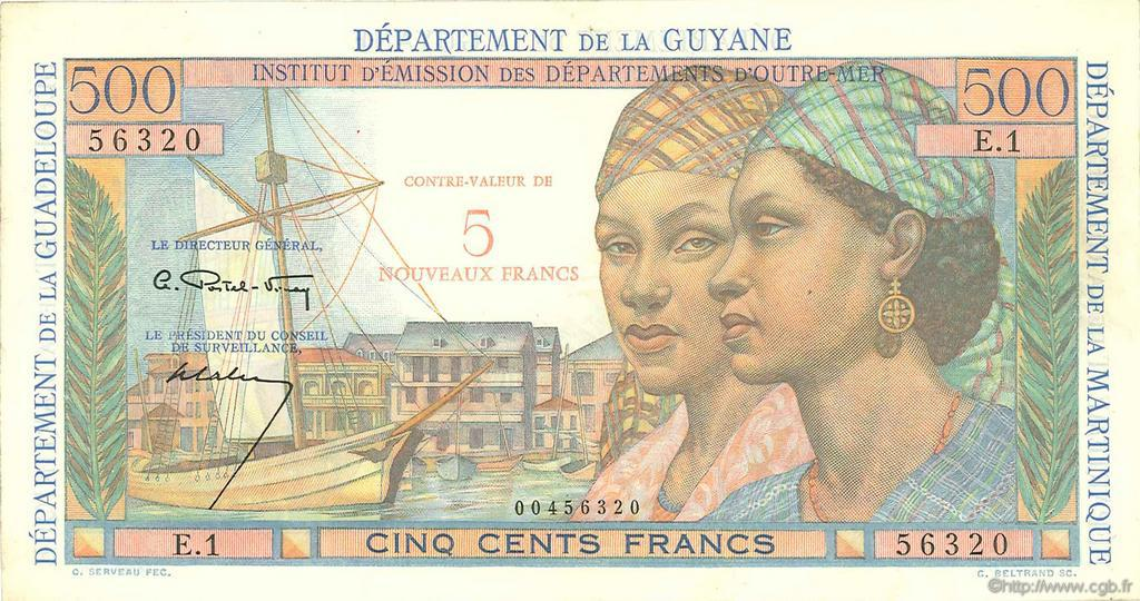 RECTO 5 NF/500 francs Pointe à Pitre Type 1946