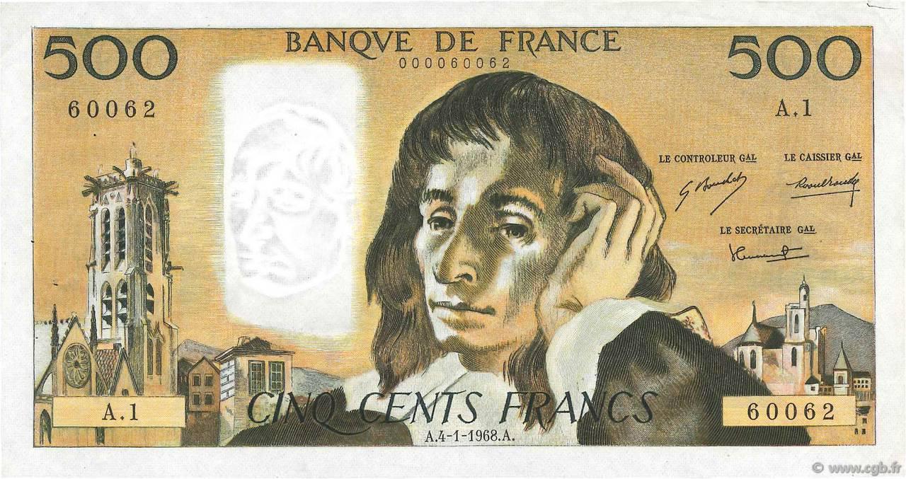 500 francs Pascal 1968 Pick##156