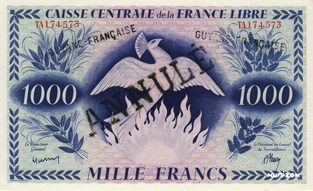RECTO 1000 francs Free France Type 1943  (UK)