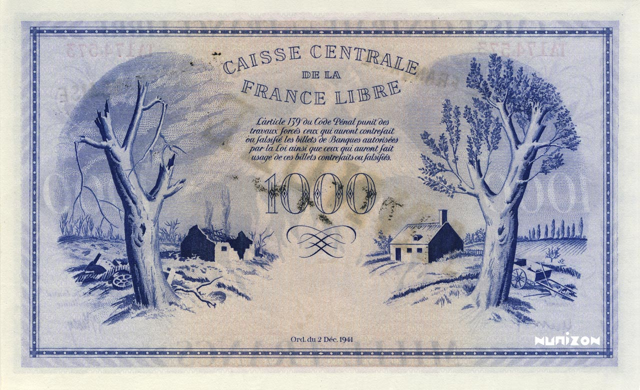 VERSO 1000 francs Free France Type 1943  (UK)