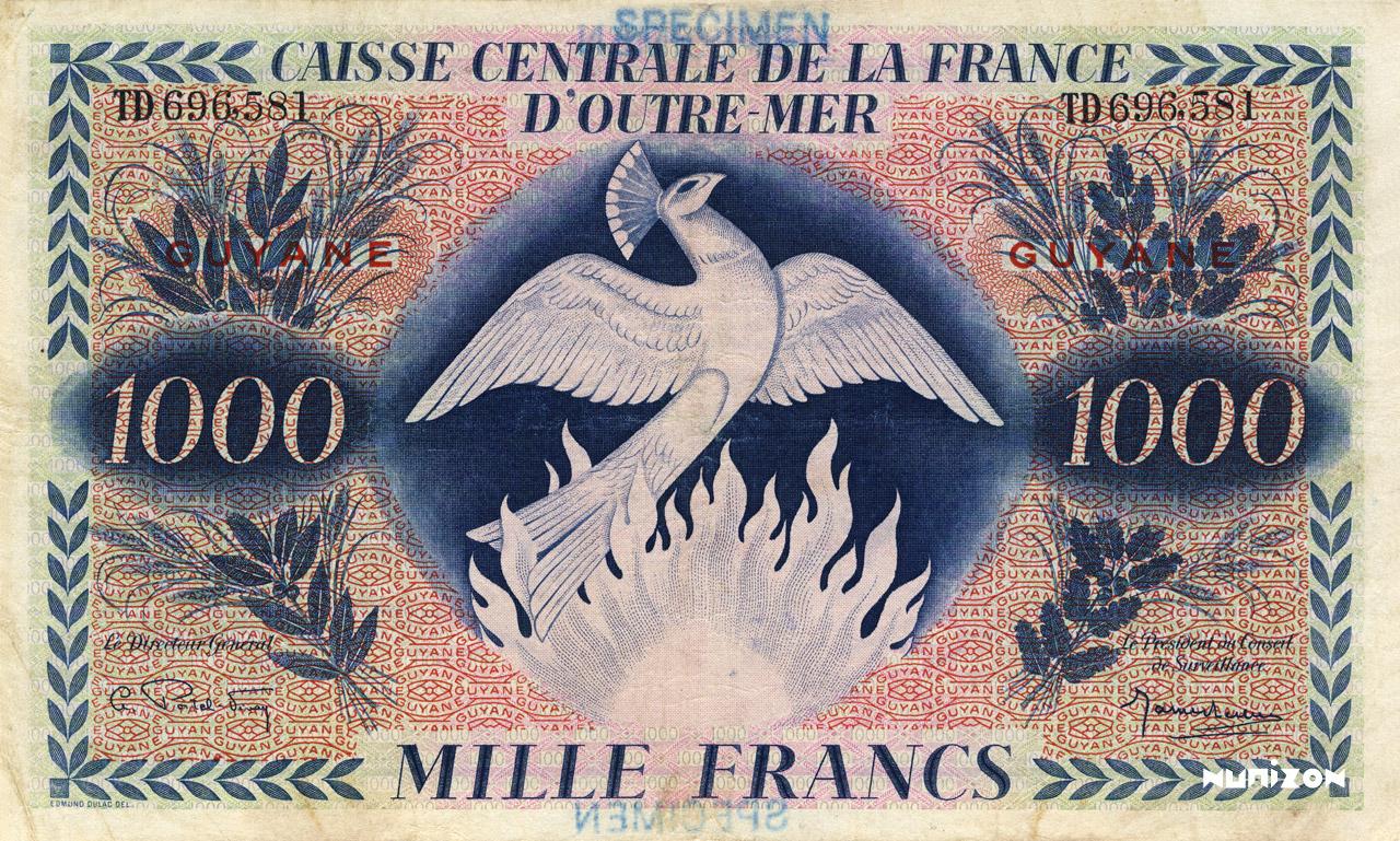 RECTO 1000 francs Type 1943  UK prinitng
