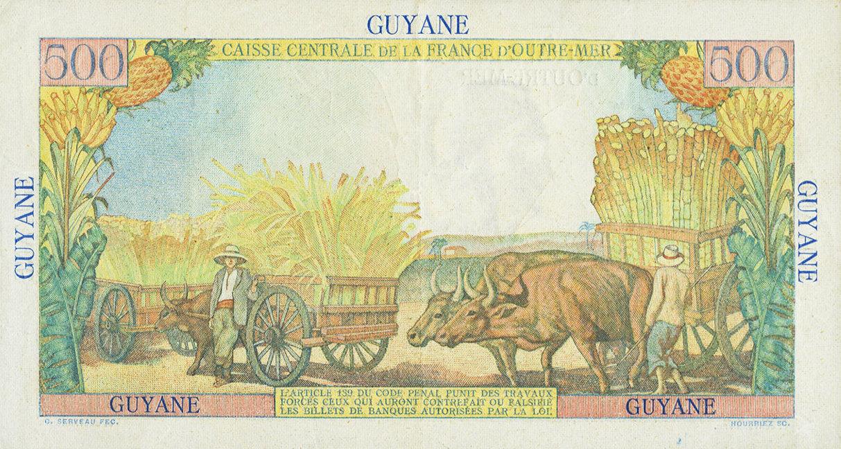 VERSO 500 francs Pointe à Pitre Type 1946