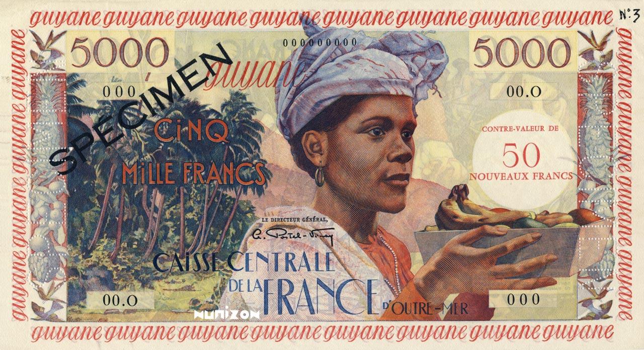 RECTO 50 NF/5000 francs Antillean Type 1955