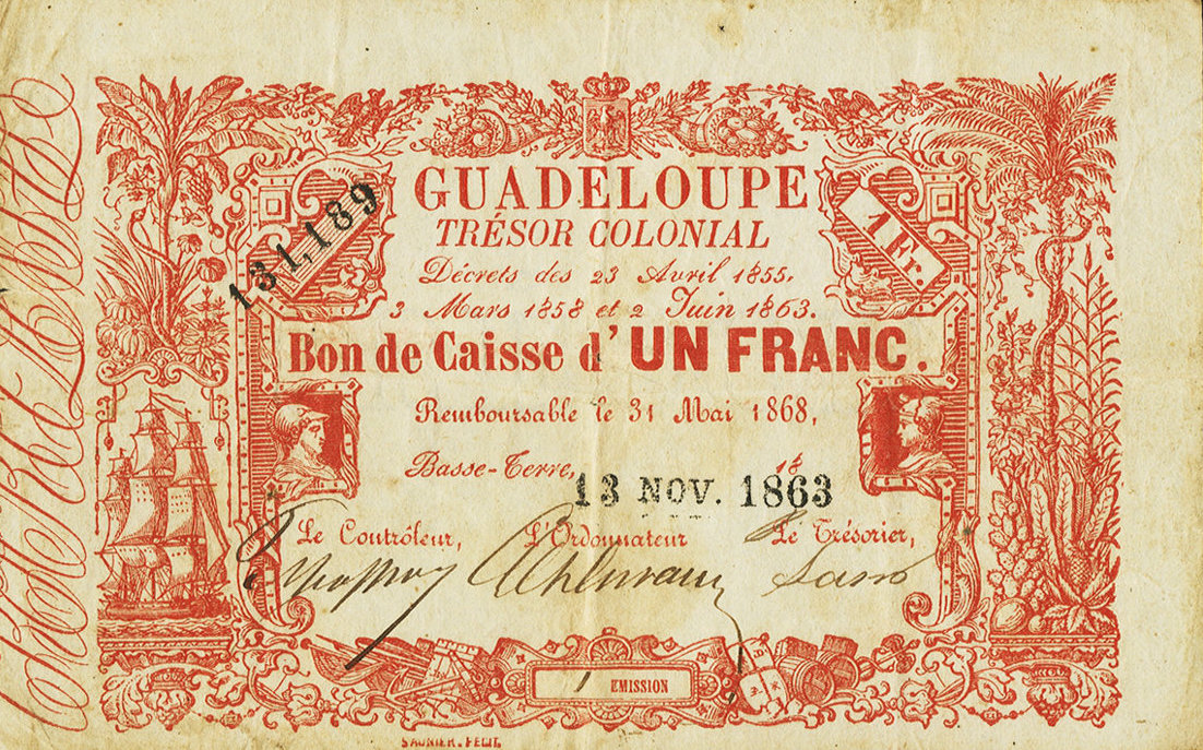 RECTO 1 franc Colonial Treasury Type 1865