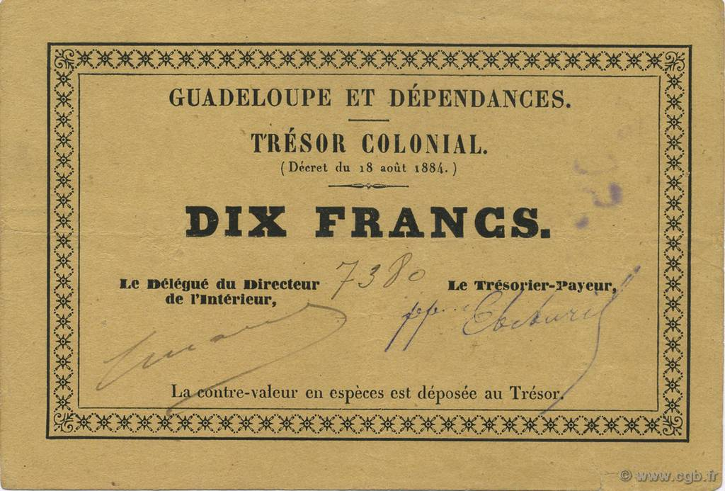 RECTO 10 francs Colonial Treasury Type 1884