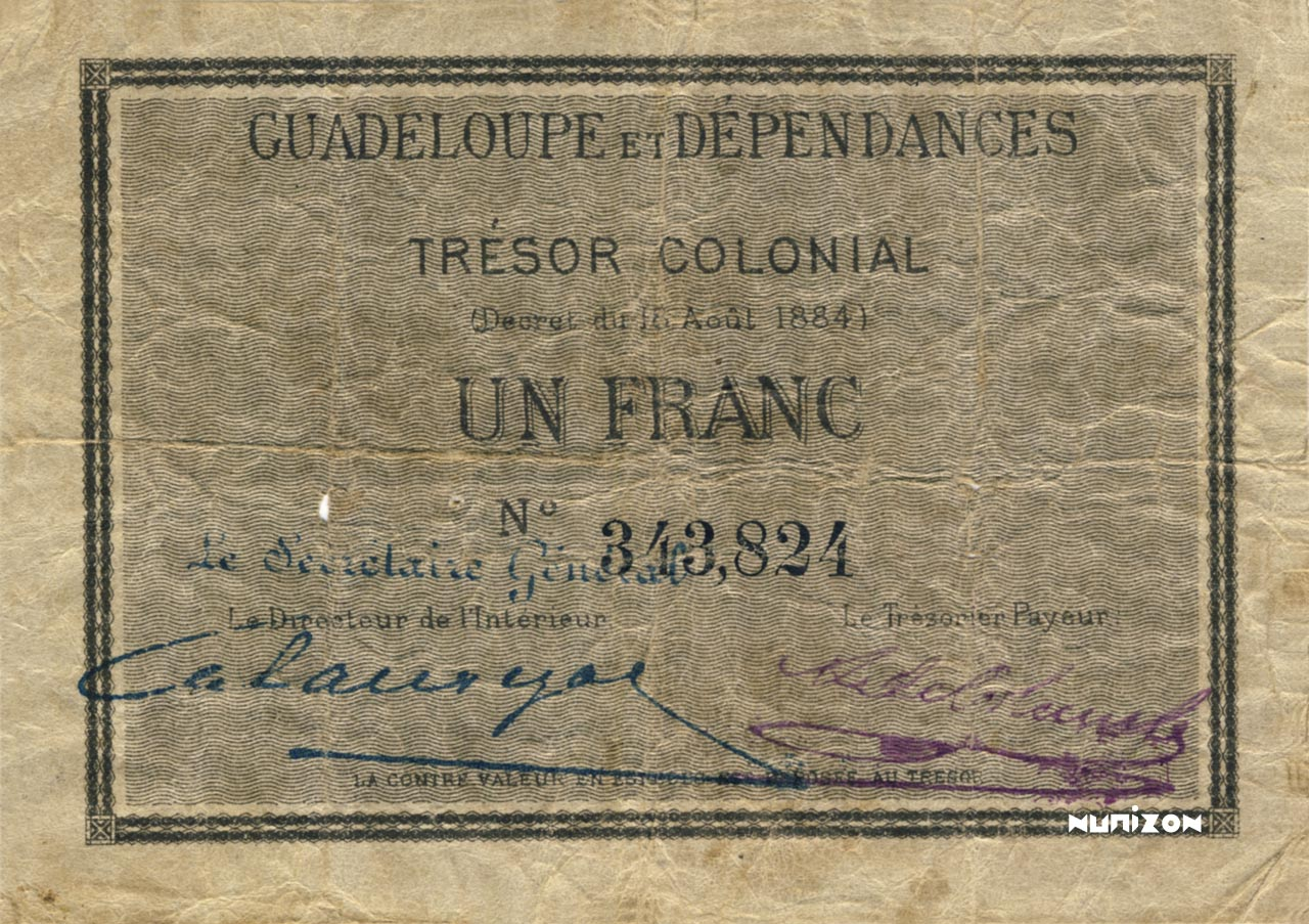 RECTO 1 franc Colonial Treasury Type 1884