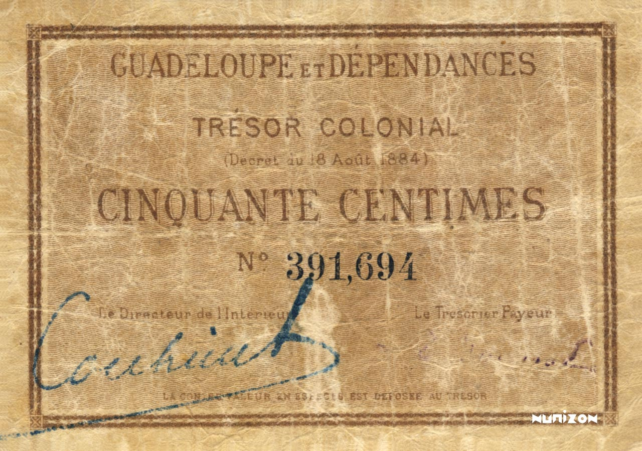 RECTO 50 centimes Colonial Treasury Type 1884