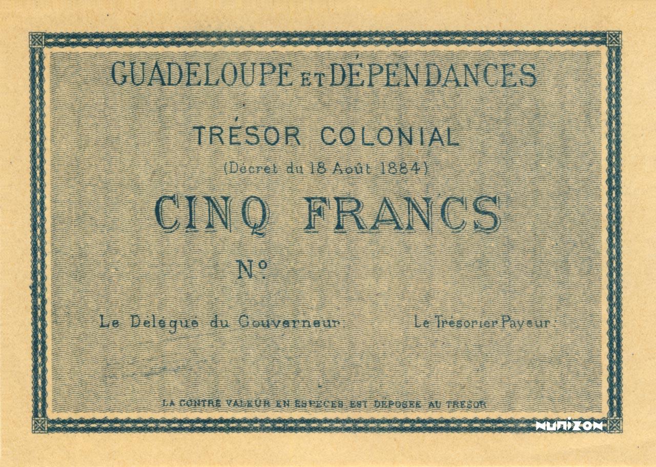 RECTO 5 francs Colonial Treasury Type 1884