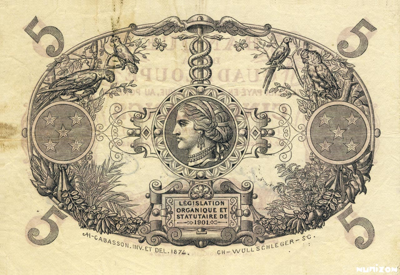 VERSO 5 francs Red Type 1901