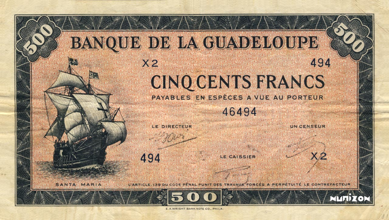 RECTO 500 francs Type 1942 small (US)