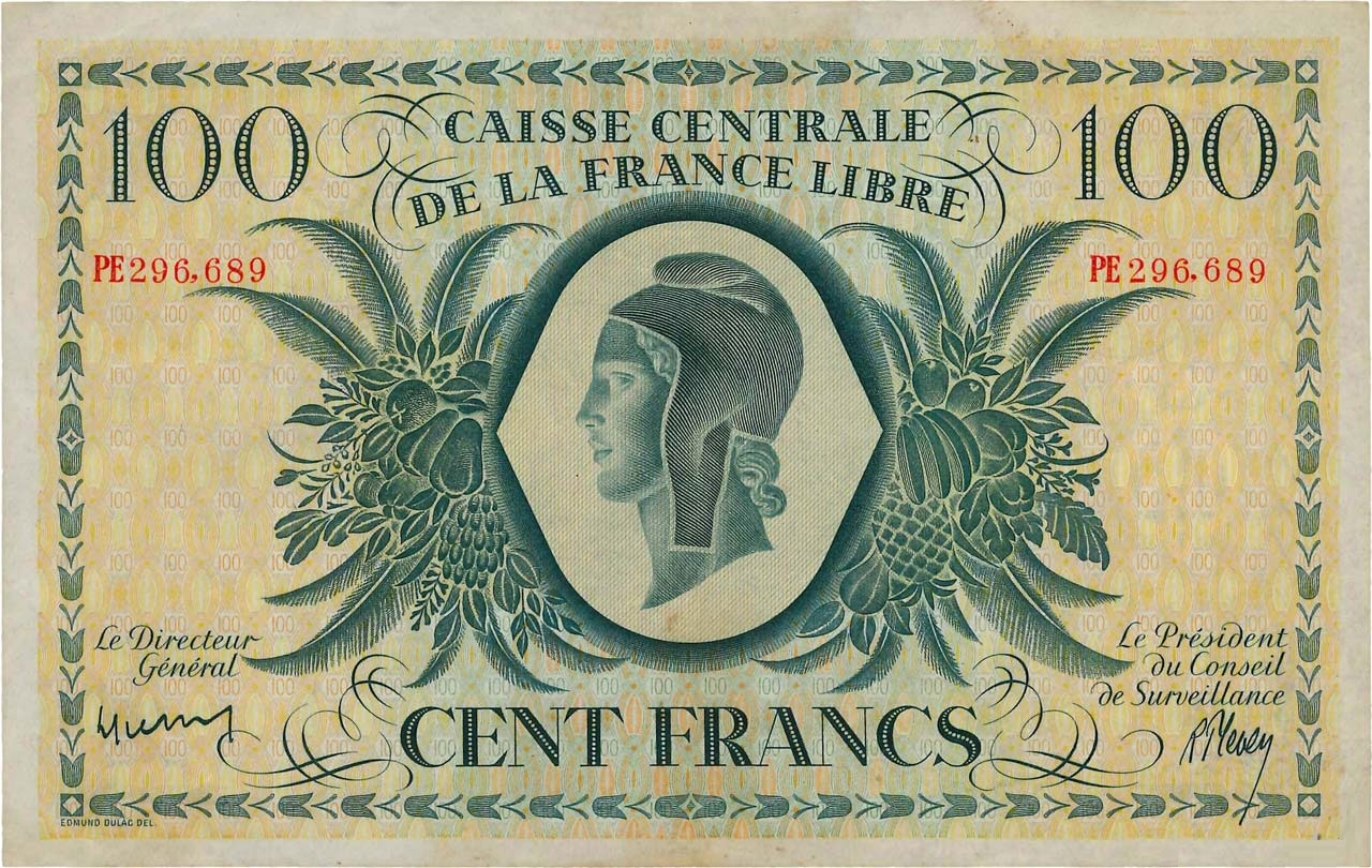 RECTO 100 francs Free France Type 1943