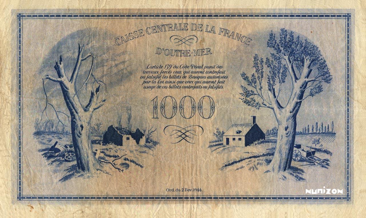 VERSO 1000 francs Type 1943  (UK)