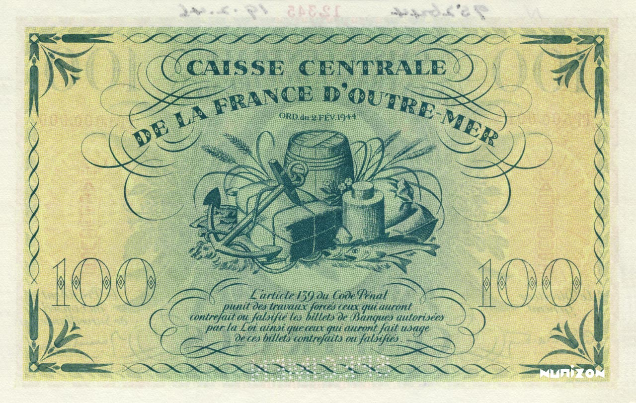 VERSO 100 francs Type 1943  (UK)