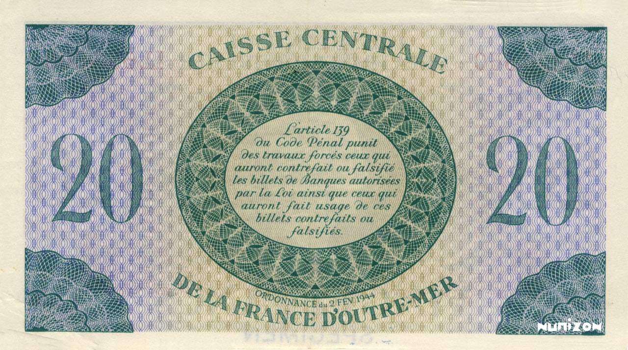 VERSO 20 francs Type 1943  (UK)