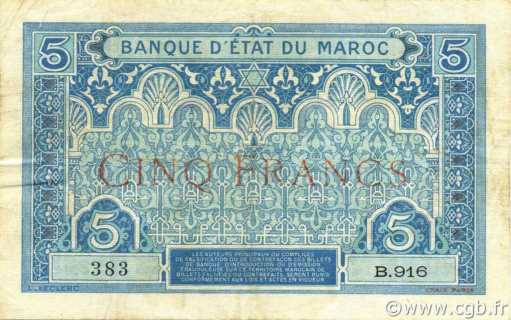 RECTO 5 francs Type 1921