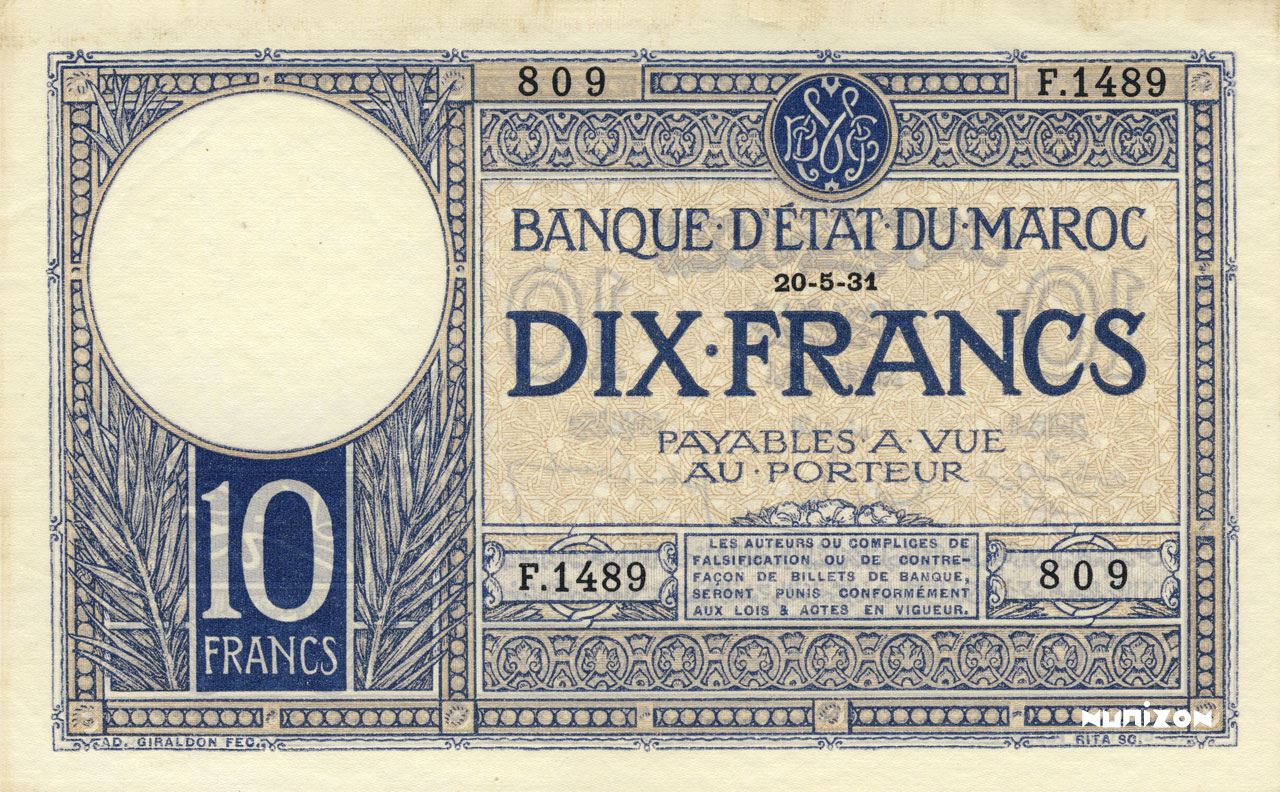 RECTO 10 francs Type 1929-1941
