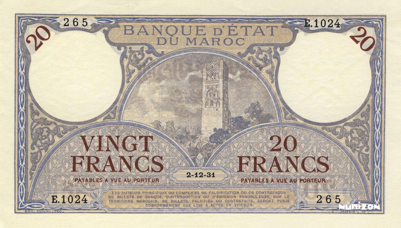 RECTO 20 francs Type 1929-1945