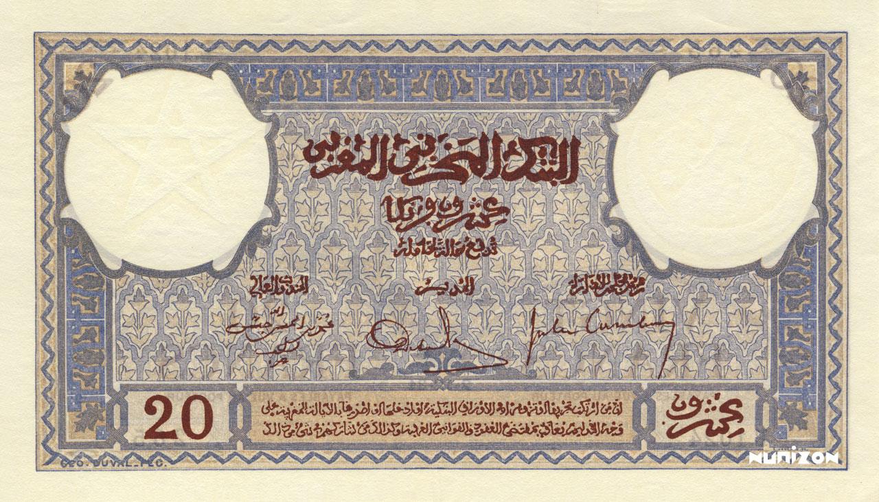 VERSO 20 francs Type 1929-1945
