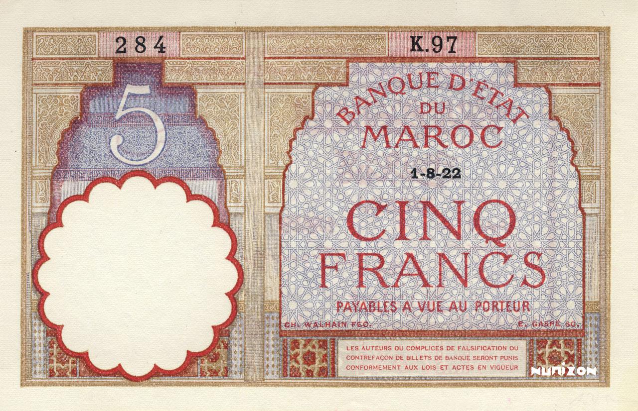 RECTO 5 francs Type 1922