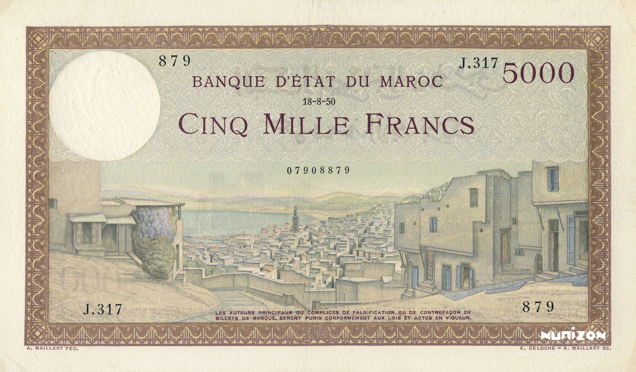 RECTO 5000 francs Type 1937