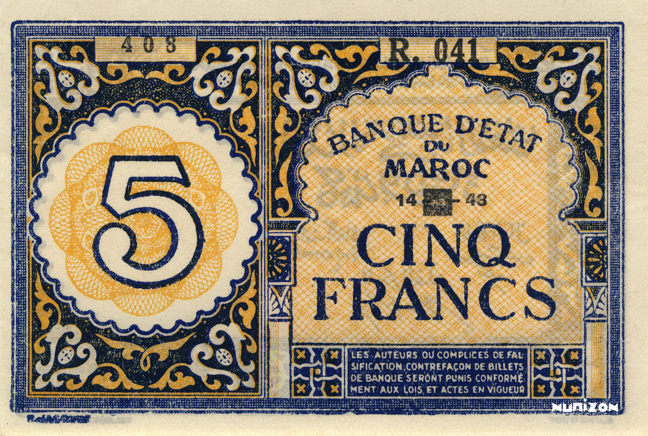RECTO 5 francs Type 1943 Casablanca