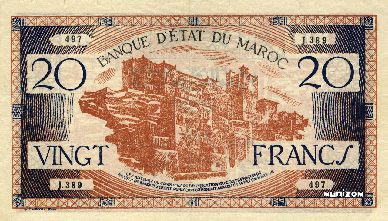 RECTO 20 francs Type 1943 Casablanca