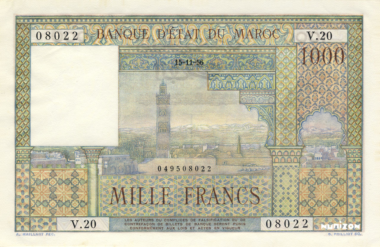 RECTO 1000 francs Type 1951